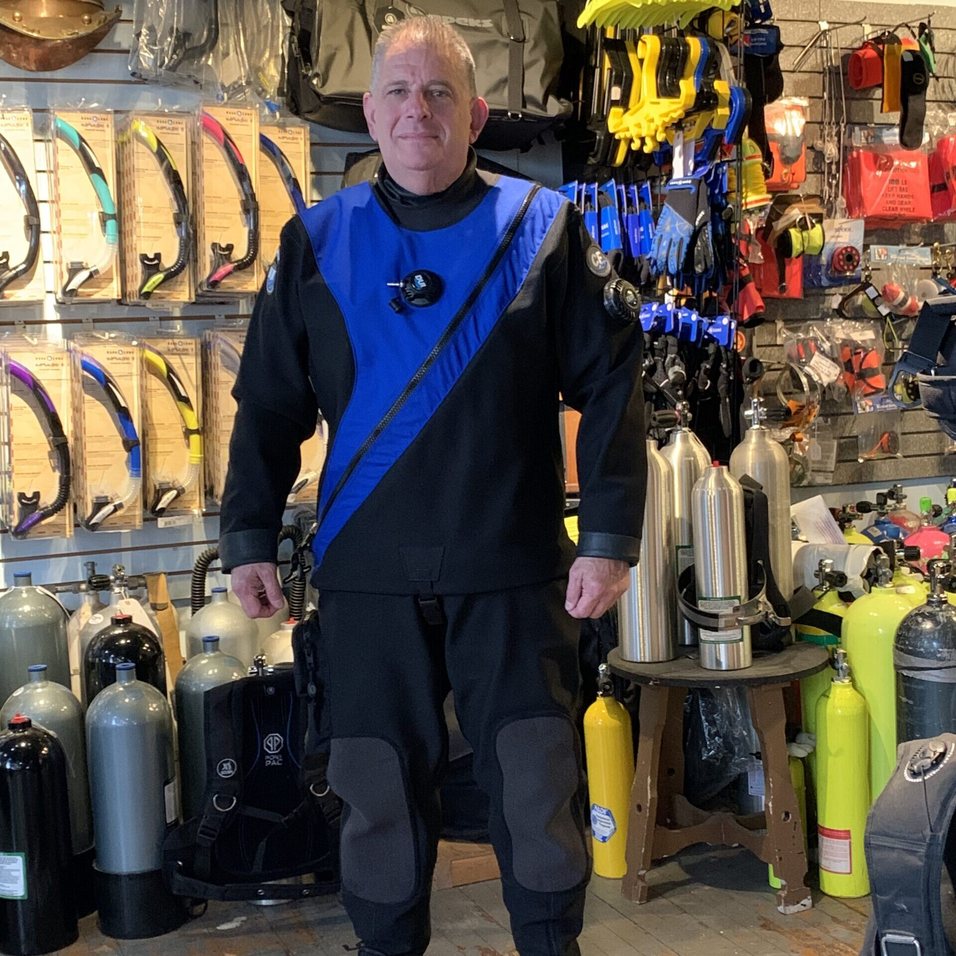 Mike picked up his DUI CF200 Custom Dry Suit! A perfect fit!